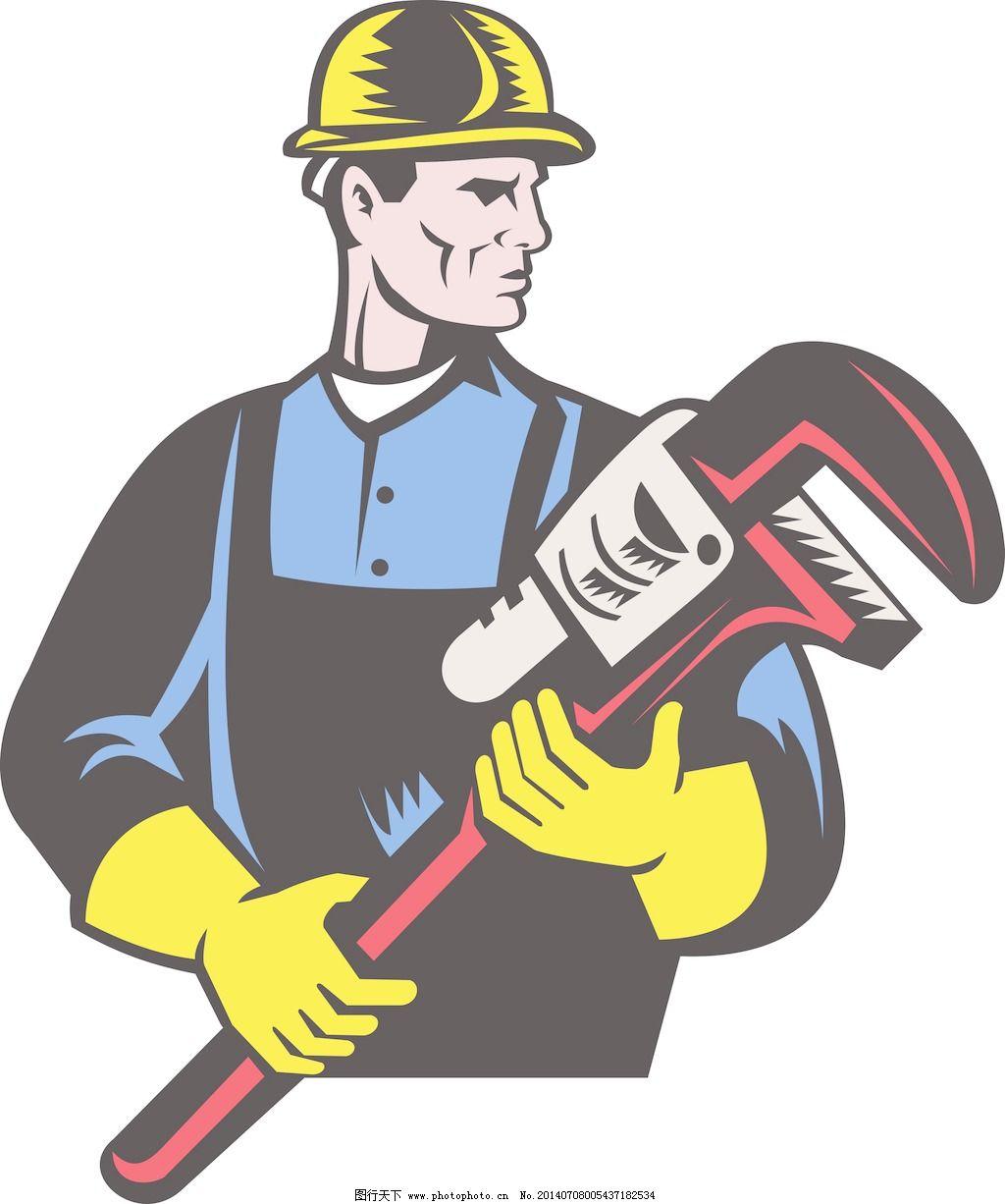 水管工修理工拿着扳手