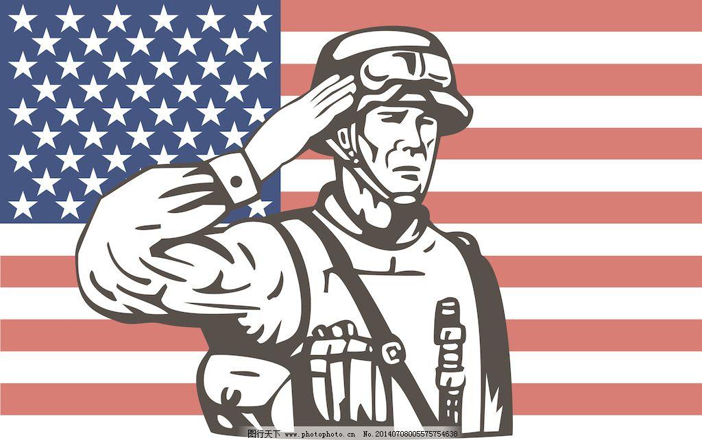 美国士兵军人敬礼图片