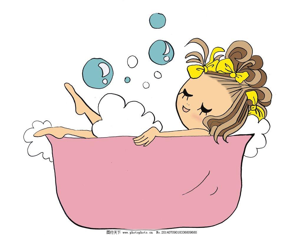 卡通女孩 卡通 美女 个性卡通 长发美女 绘画 顽皮女孩 洗澡 泡泡