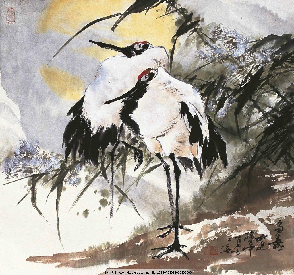 多寿图 国画 陈世中 多寿 仙鹤 鹤 绘画书法 文化艺术 设计 350dpi