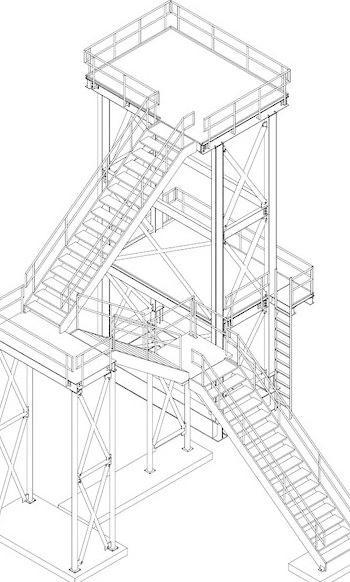 有楼梯的ac等距视图楼梯塔 钢 工业 结构 宽梁 阿曼多 鞍钢