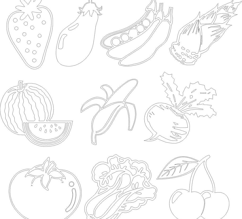 草莓 香蕉 萝卜 西瓜 白菜 矢量 曲线 cdr 刻绘图形 蔬菜 生物世界