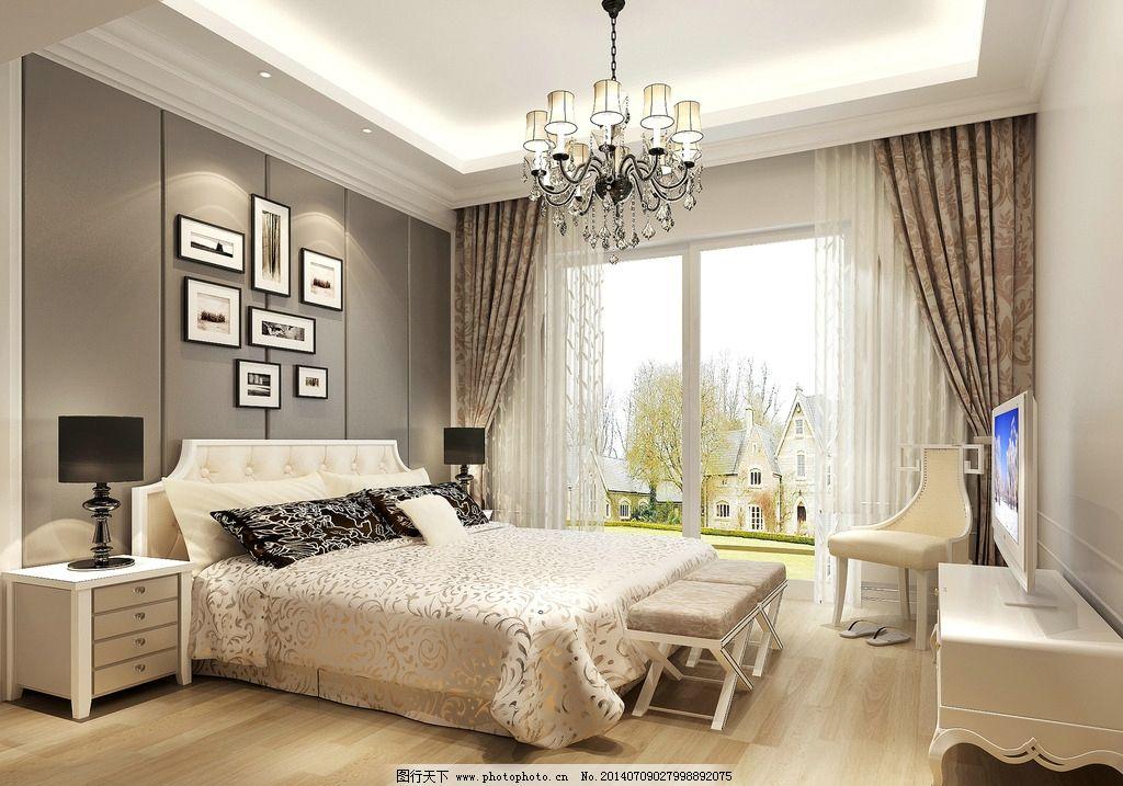 卧室效果图 欧式 欧式效果图 现代欧式 室内设计 环境设计 设计