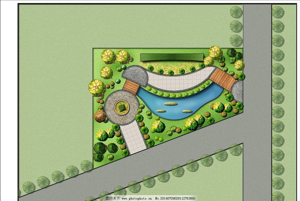 分层图素材流水小桥平面图绿化平面水景石山园路湖景观设计