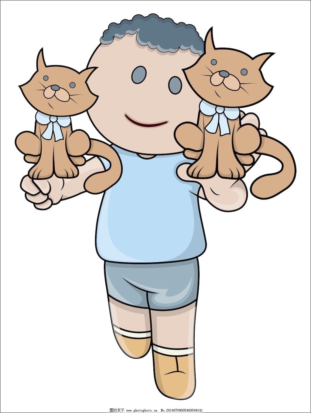 小孩玩的小猫卡通插画矢量
