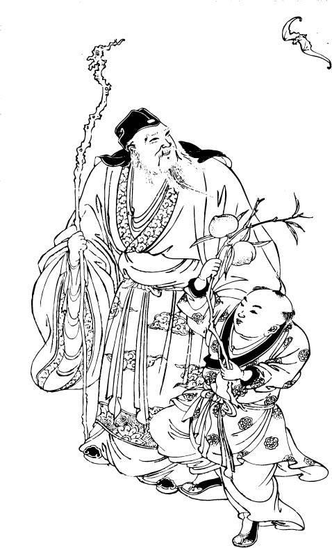 手绘寿星简笔画