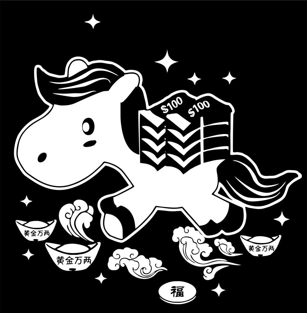 马上有钱黑白雕刻画 动漫动画 动漫人物 动物 绘画 可爱 马年