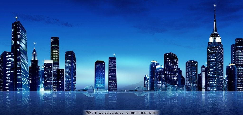 蓝色城市 大气 夜色 喧闹 灯光 设计图片