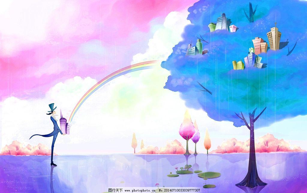 淡彩画 淡彩 水墨 画 树 天 水面 装饰画 psd分层素材 设计 300dpi
