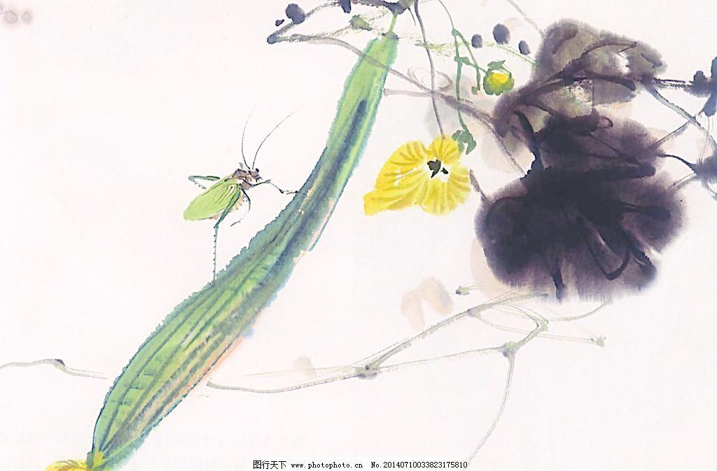 丝瓜水墨画(非高清)图片免费下载 壁画 昆虫 墙画 蔬菜 水墨 水墨画
