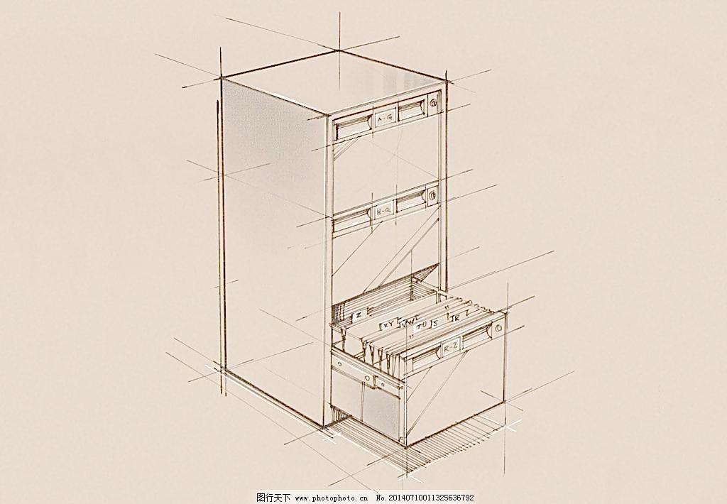 手绘办公室用品 档案柜 抽屉图片