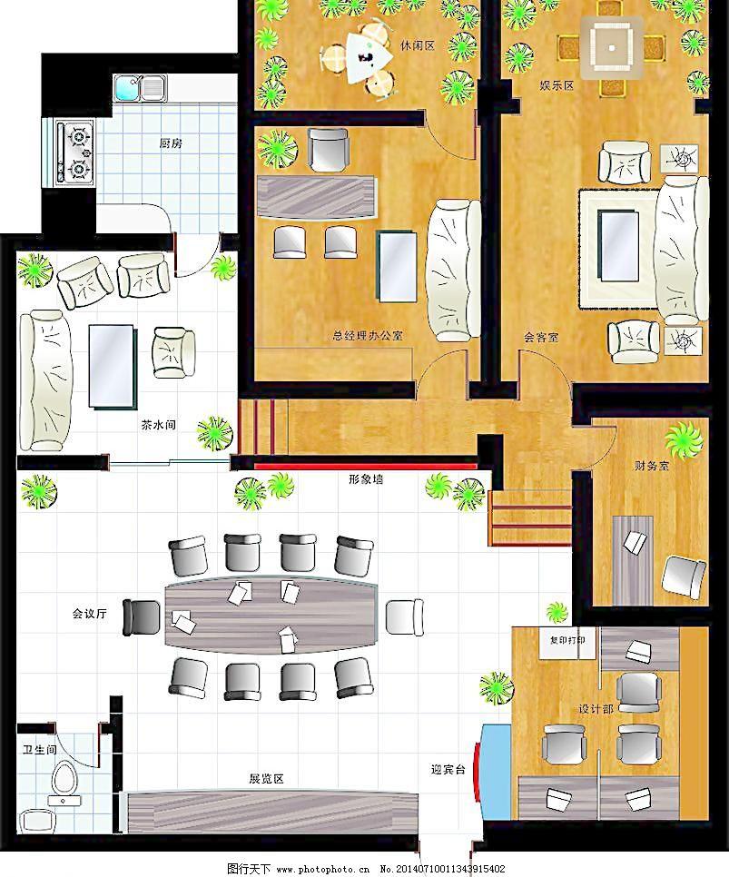 办公室 室内平面设计 室内 矢量 平面效果 室内设计 建筑家居 cdr