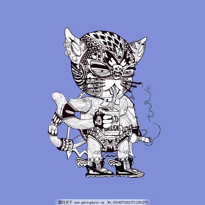 印花矢量图 动物 猫 机器猫 朋克风格 免费素材