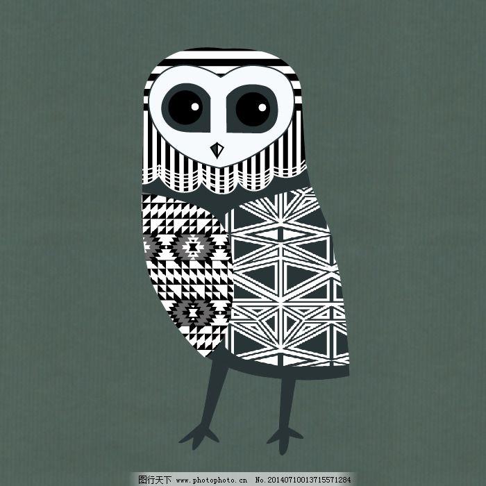 印花矢量图 卡通 卡通动物 猫头鹰 几何拼接 免费素材