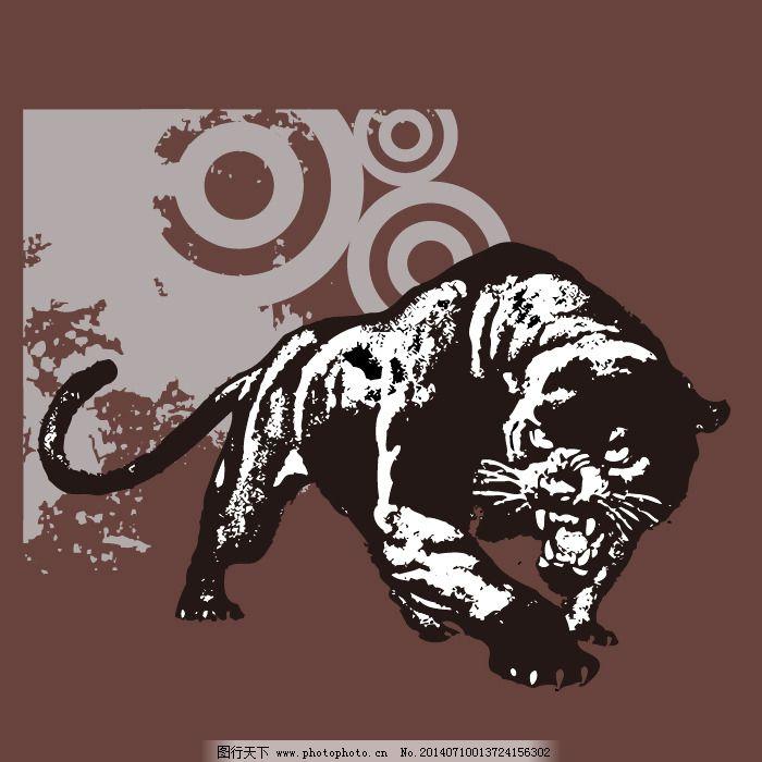 印花矢量图 动物 老虎 几何 圆形 免费素材