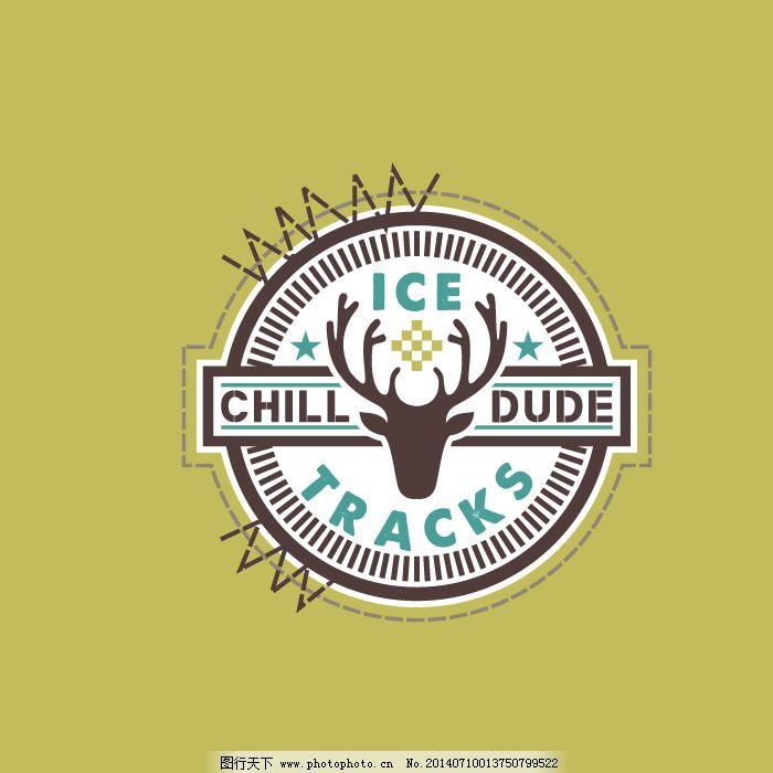 印花矢量图 动物 鹿头 几何 图形 免费素材