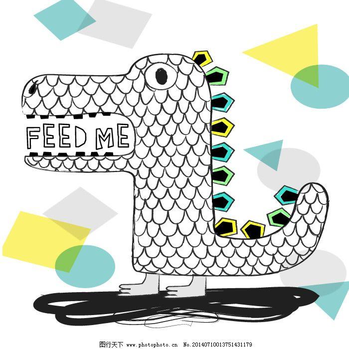 印花矢量图 卡通 动物 海马 几何 免费素材_图案花型