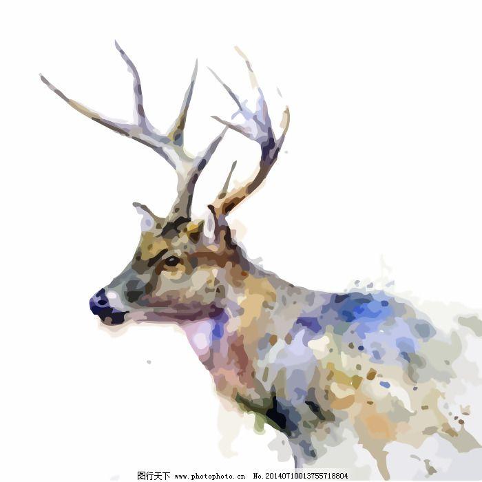 鹿 免费下载 水彩 印花矢量图 印花矢量图 艺术效果 水彩 动物 鹿