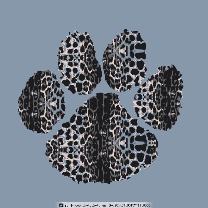 印花矢量图 可爱卡通 卡通动物 动物手掌 豹纹 免费素材
