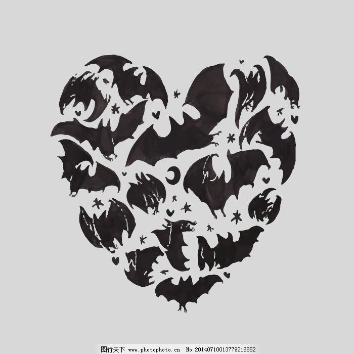 印花矢量图 动物 蝙蝠 几何 心形 免费素材