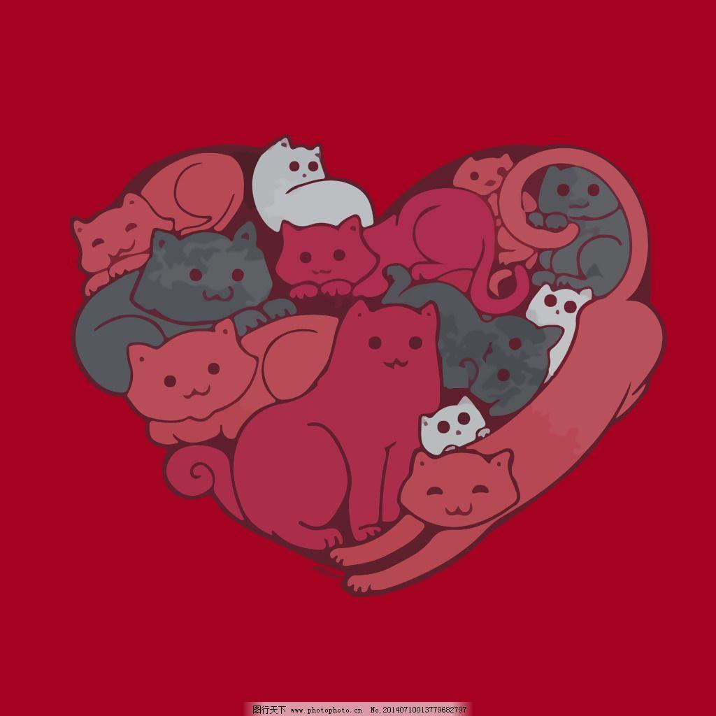 印花矢量图 几何 心形 动物 猫 免费素材