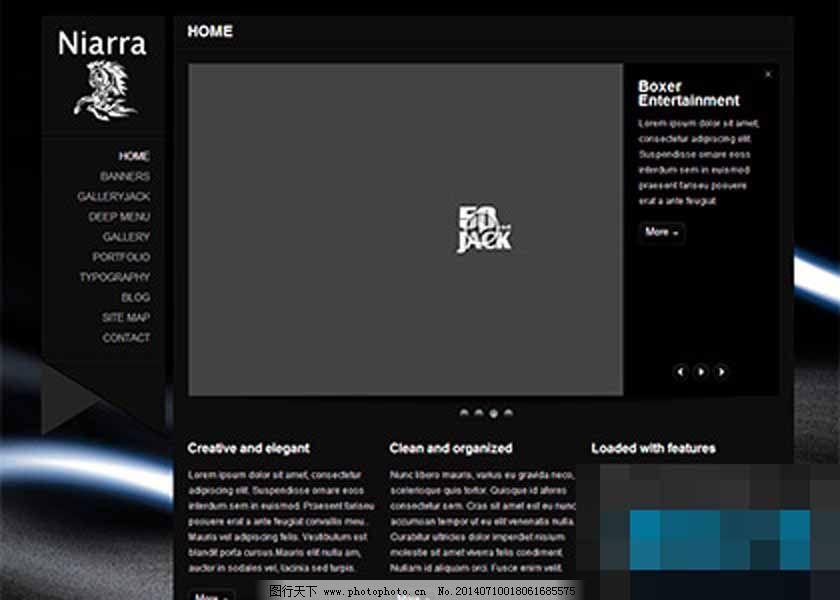 黑色炫酷背景左栏产品展示企业模板
