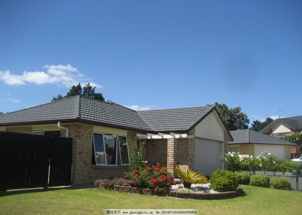 新西兰风景 蓝天 白云 建筑 别墅 绿地 花坛 花草 新西兰风光