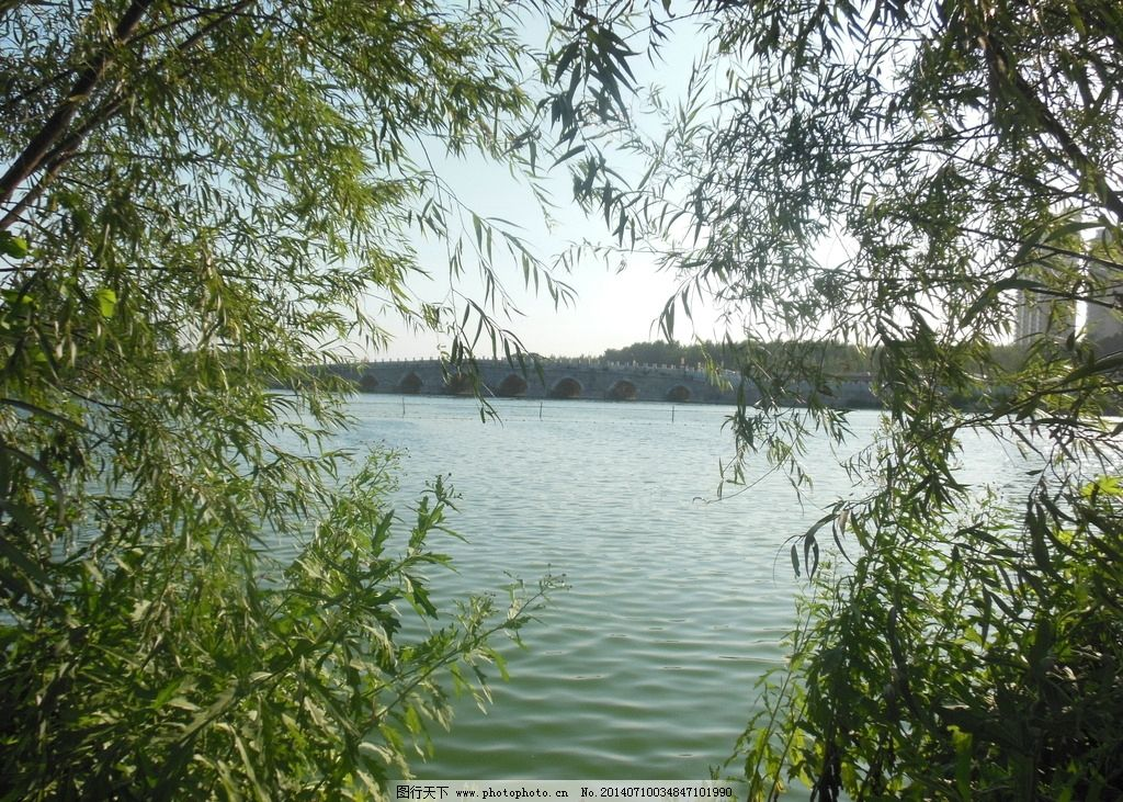 河水风光图 水面 树木 树叶 天空 小桥 风景图 摄影