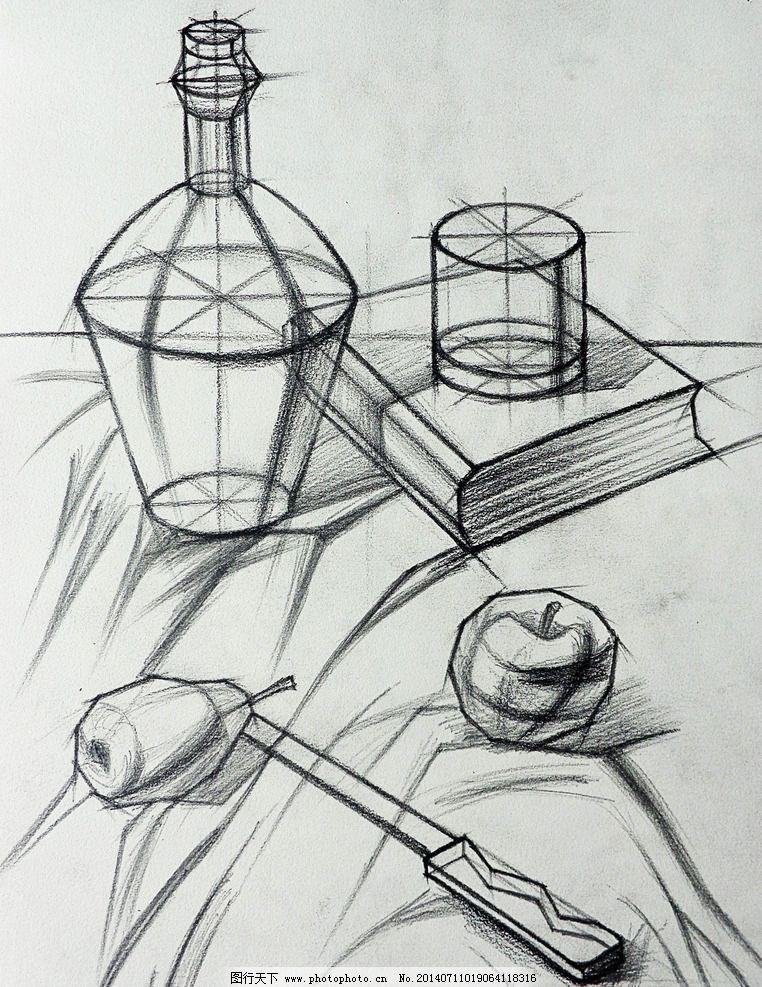 静物素描 结构素描 线稿图图片