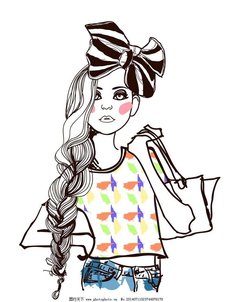 手绘美少女 手绘少女 女孩
