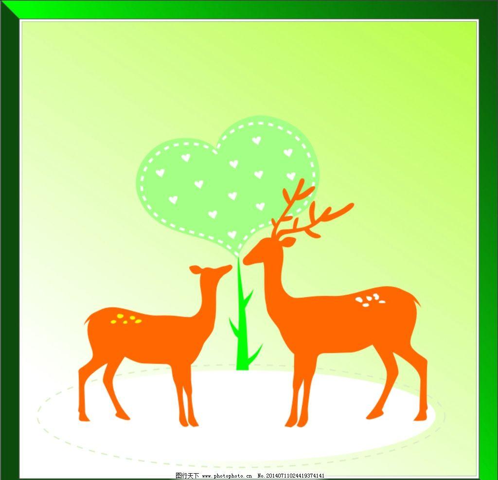 麋鹿 圣诞 图案 背景 色彩 线条 素材 野生动物 生物世界 设计 cdr