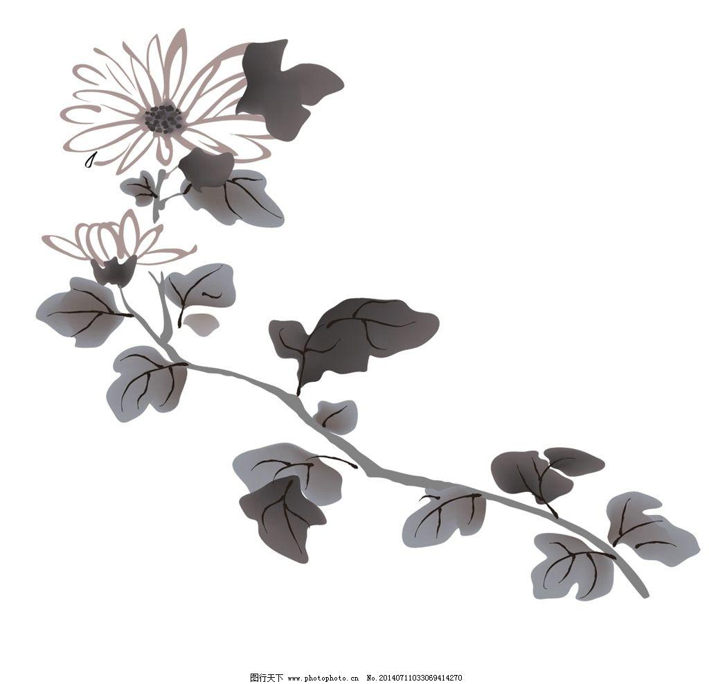 水墨荷花图 中国风 黑白 鸟 原创 绘画书法 文化艺术图片