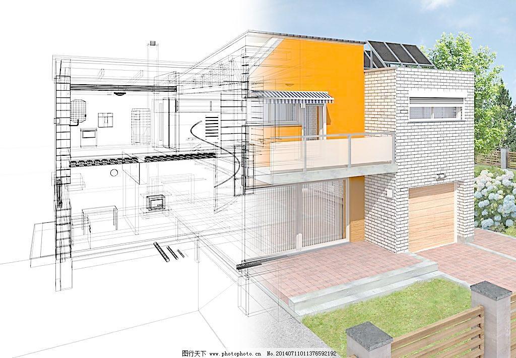 别墅 办公室 创意图片 3d 建筑 建设 房子 房地产 图纸 工业设计