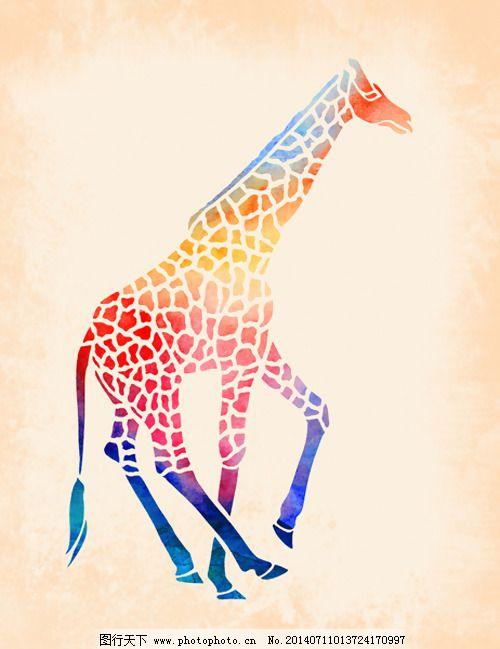 位图 动物 长颈鹿 渐变 马赛克 免费素材