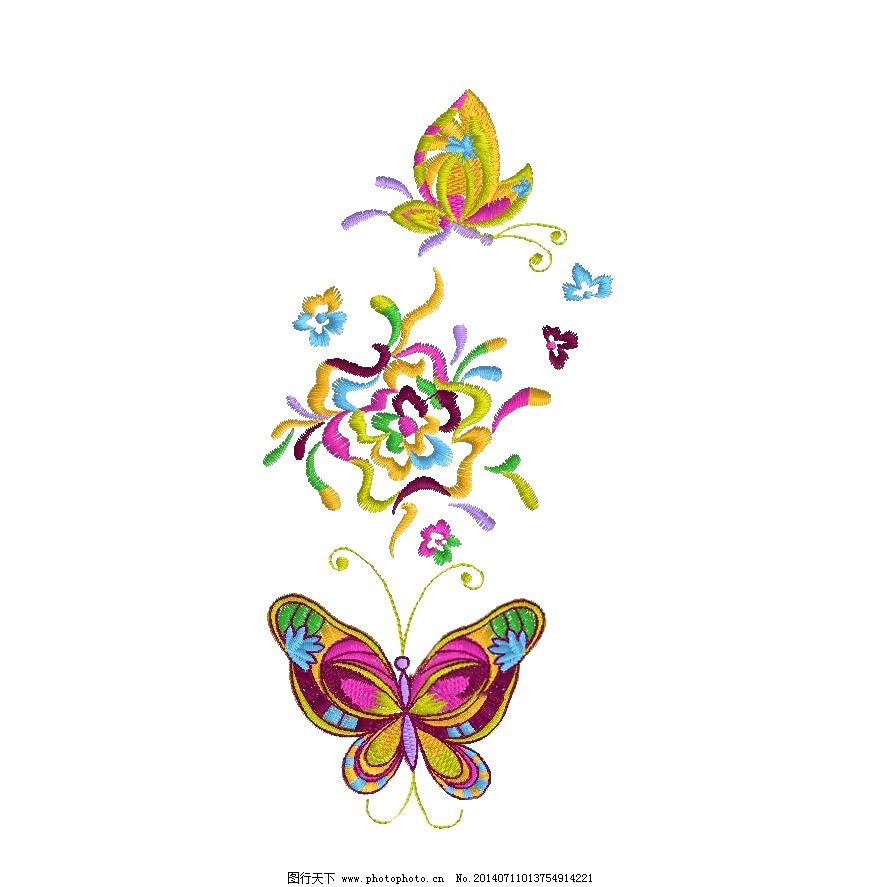 绣花 植物 花朵 动物 蝴蝶 免费素材