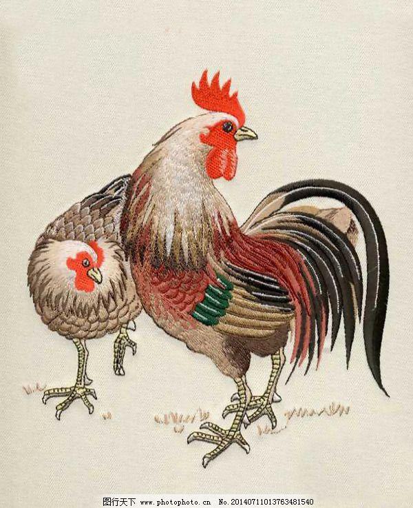绣花 动物 鸡 公鸡 免费素材