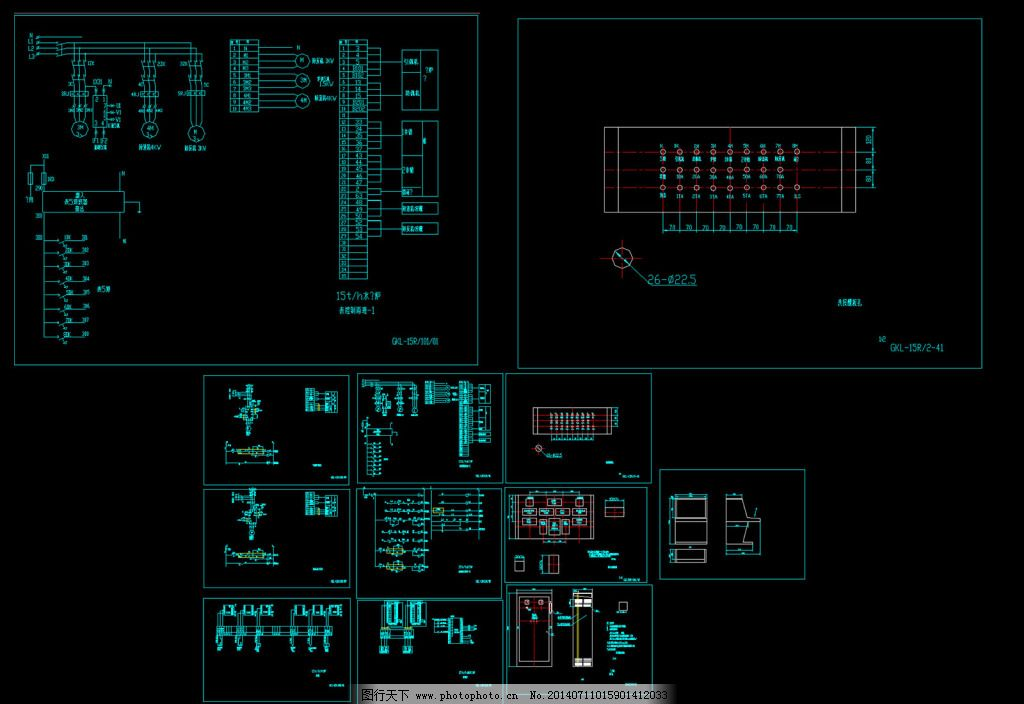 热水锅炉全套电气控制原理图cad图纸