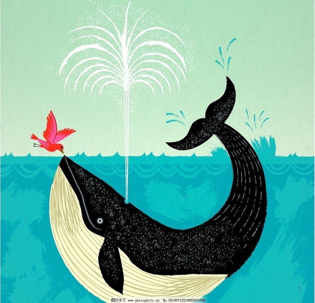 鲸鱼卡通 鲸鱼 卡通 油画
