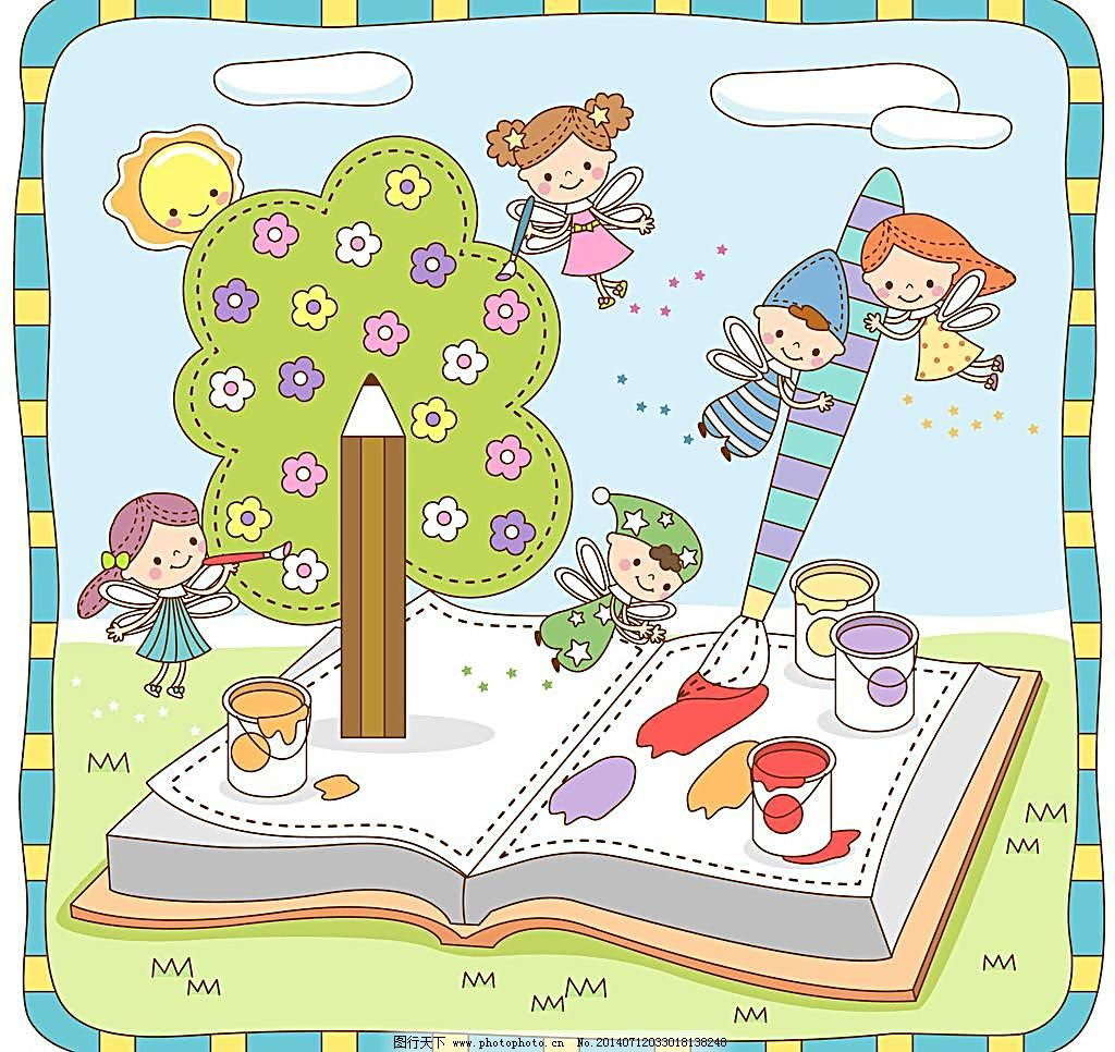 花仙子 画画 卡通 小精灵画画 精灵学习 小精灵 学习 大树 树木 绿树