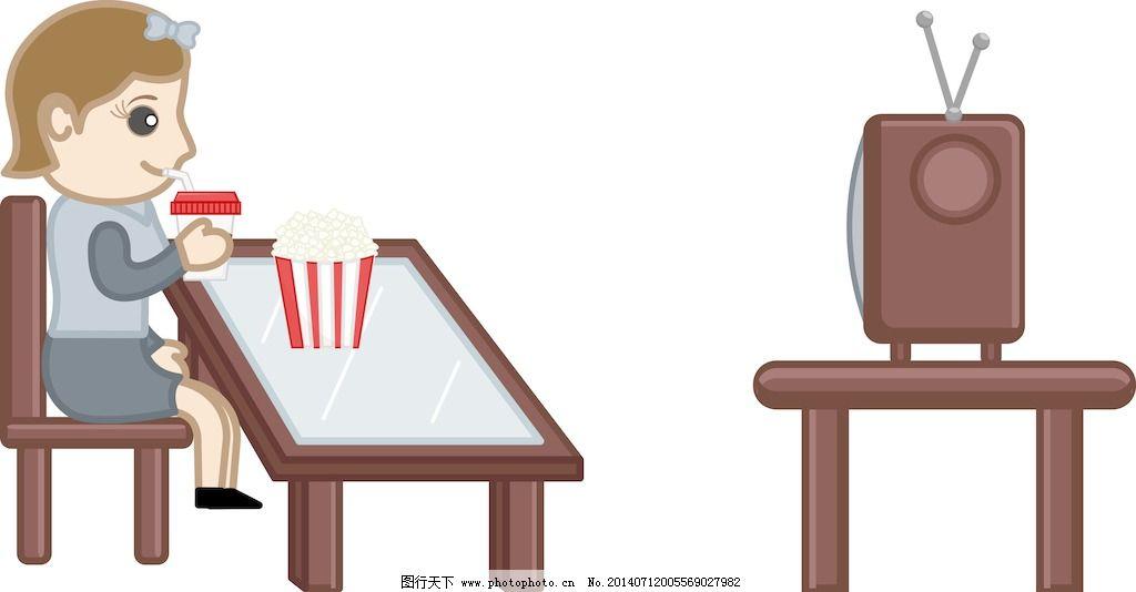女孩看电视而食品-卡通商业矢量字符
