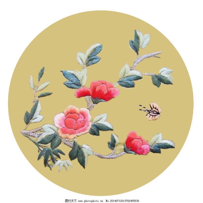 绣花 中国风 植物 花朵 免费素材
