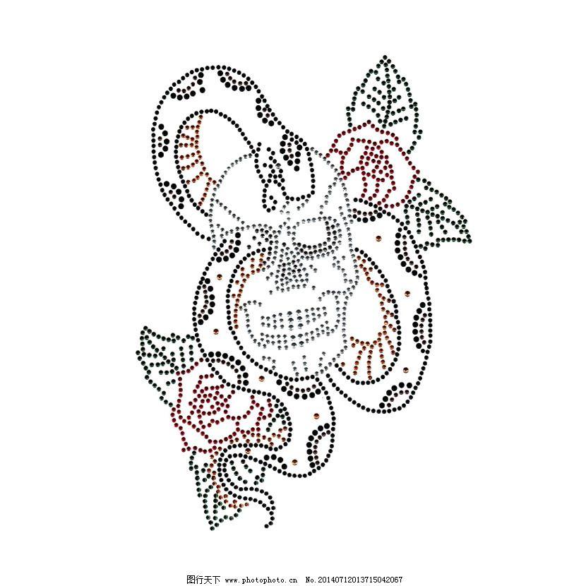 烫钻 动物 蛇 人物 骷髅 免费素材_图案花型_服装设计