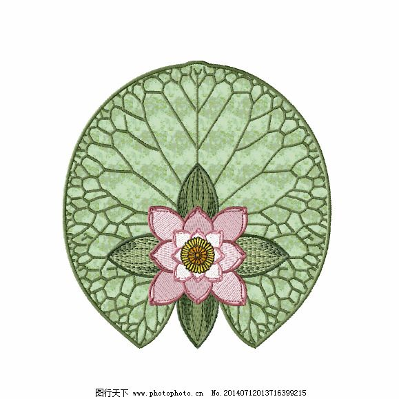 绣花 中国风 植物 花朵 荷花 免费素材
