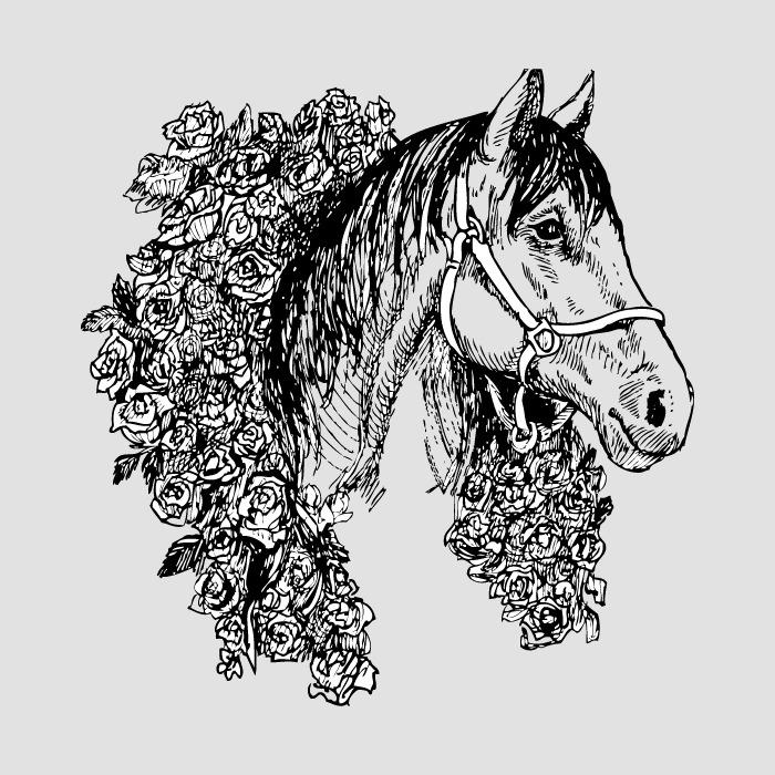 印花矢量图 t恤图案 动物 马 植物 免费素材