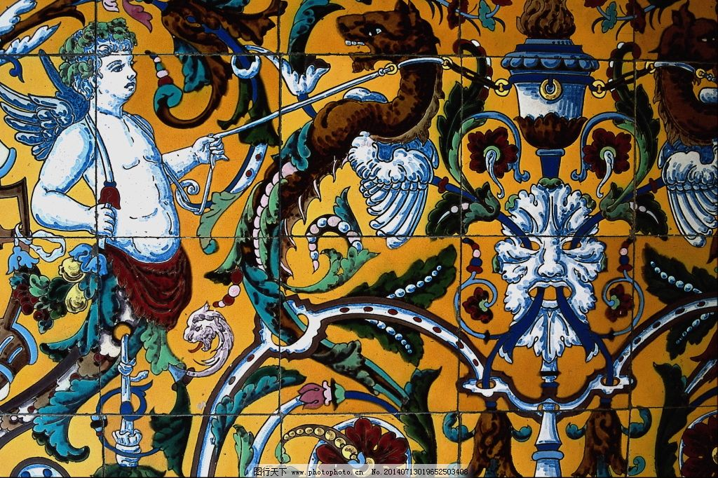 西方瓷砖壁画素材 花纹花边磁片壁画