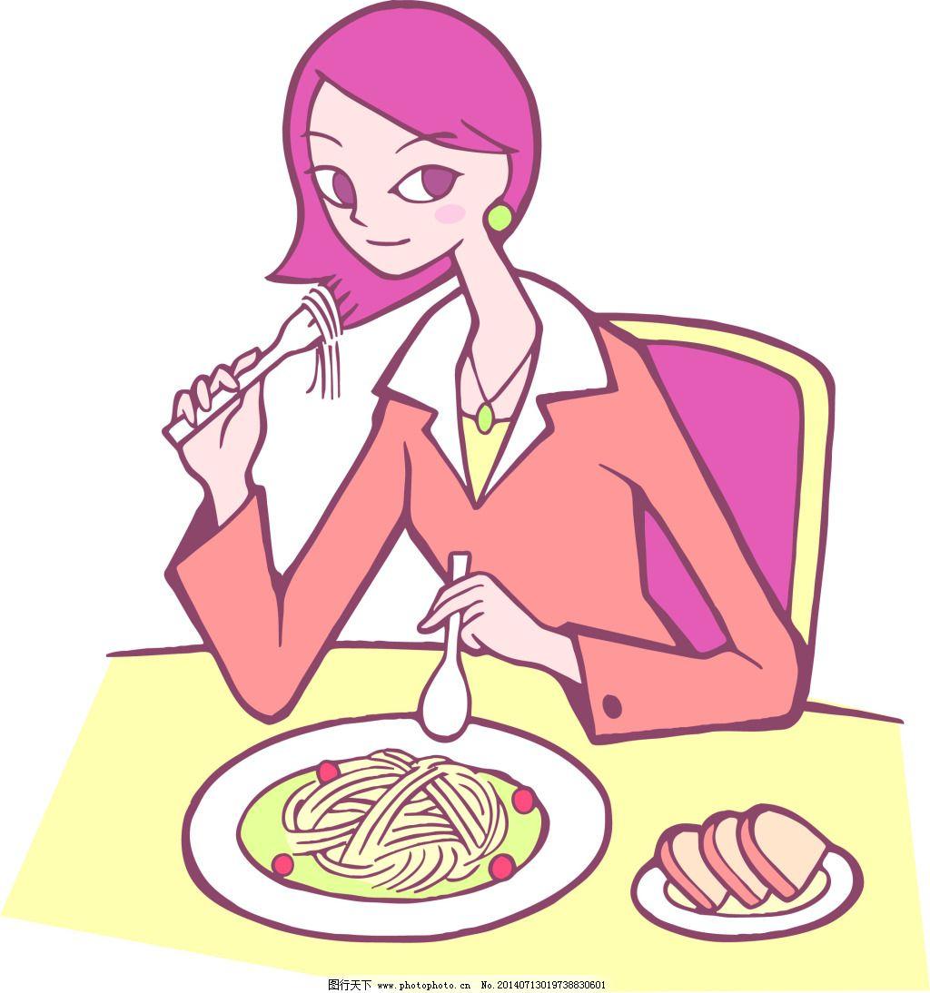 吃面的女孩 吃面的女孩图片免费下载 卡通漫画素材 吃面的女孩时尚