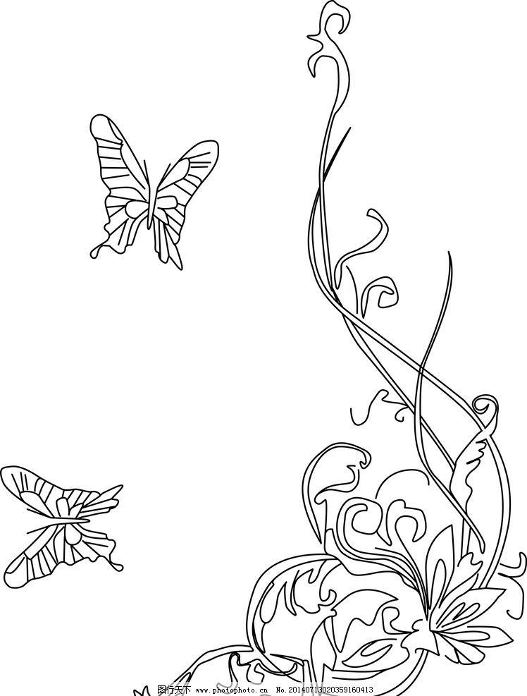 花 树藤 蝴蝶 底纹 花朵 线图 花边花纹 底纹边框 设计 cdr