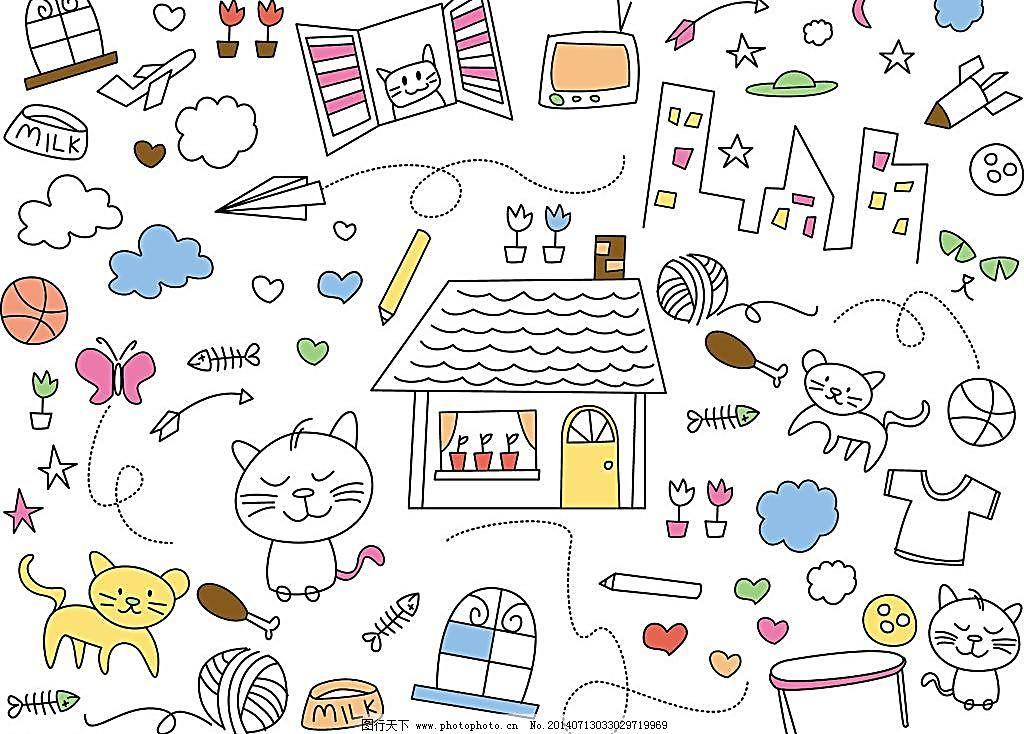 手绘卡通小猫图片