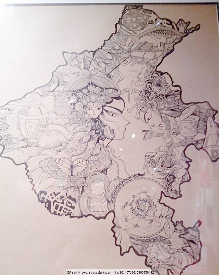 美丽中国地图手绘创意