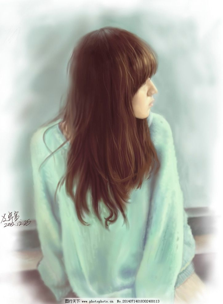 高清手绘清纯美女图片